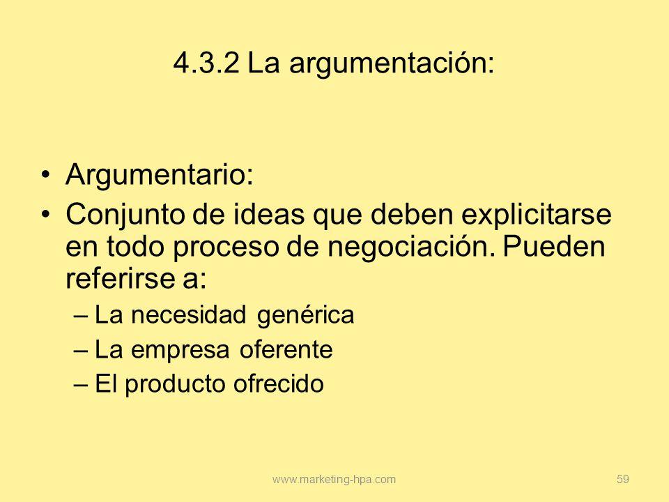 4.3.2 La argumentación: Argumentario: