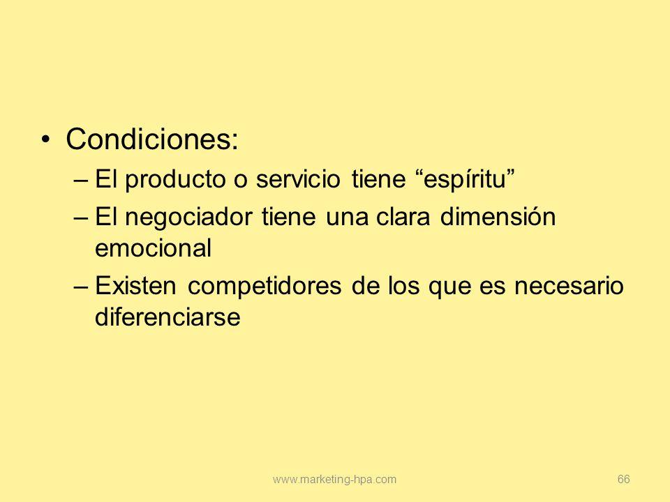 Condiciones: El producto o servicio tiene espíritu