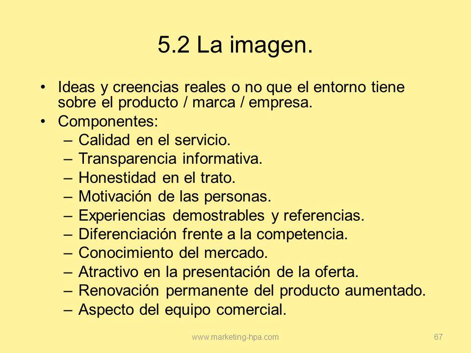5.2 La imagen. Ideas y creencias reales o no que el entorno tiene sobre el producto / marca / empresa.