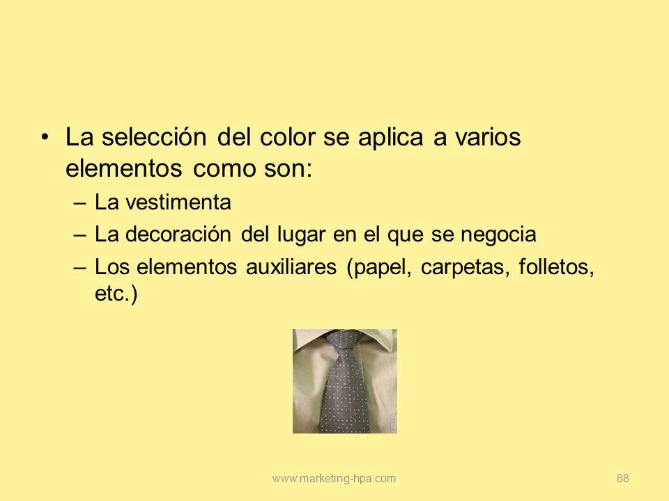 La selección del color se aplica a varios elementos como son: