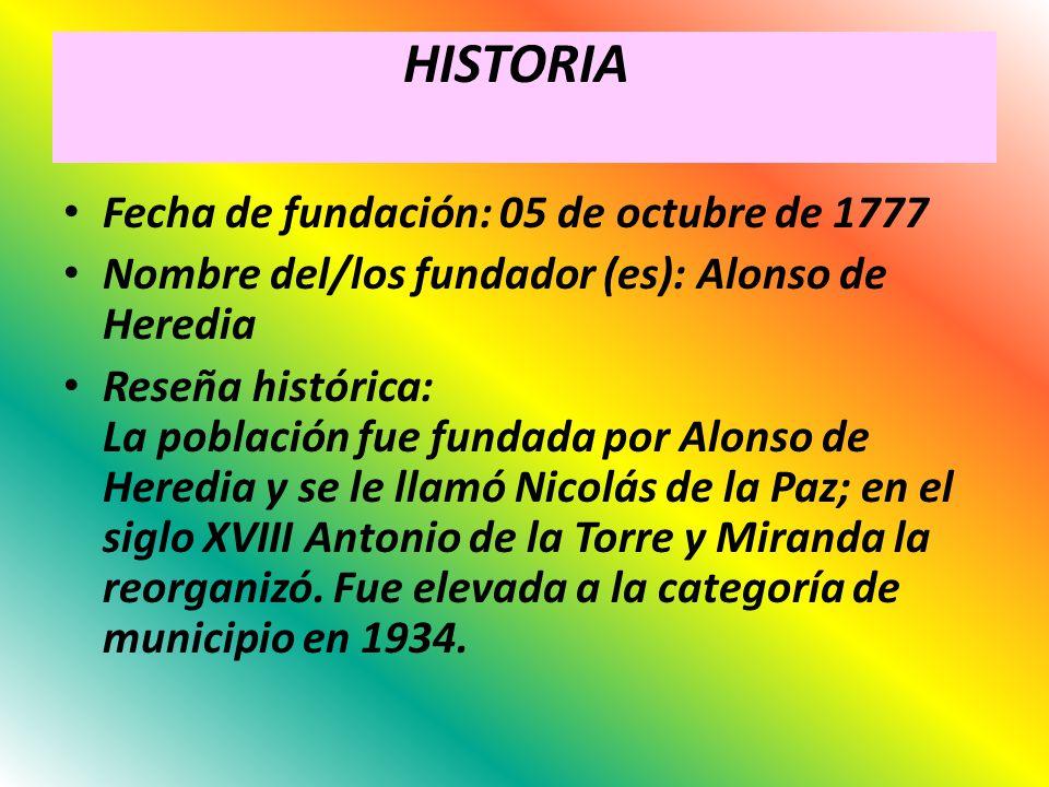 HISTORIA Fecha de fundación: 05 de octubre de 1777