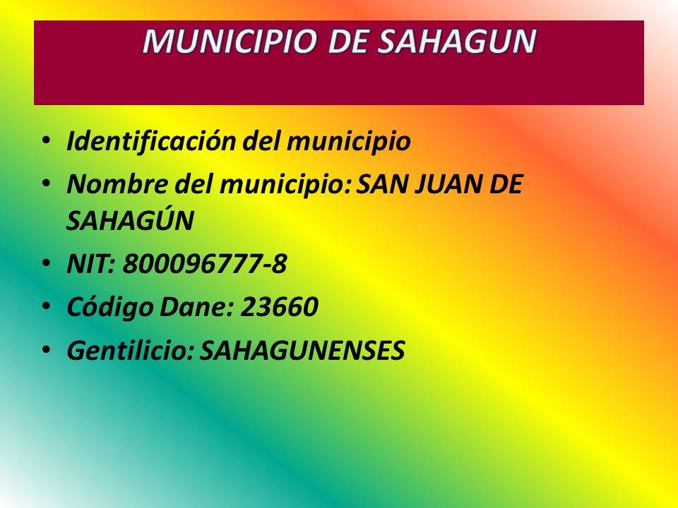 MUNICIPIO DE SAHAGUN Identificación del municipio