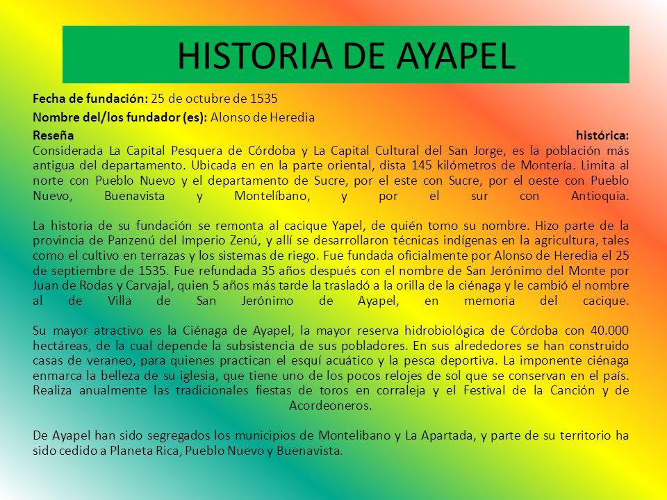 HISTORIA DE AYAPEL Fecha de fundación: 25 de octubre de 1535