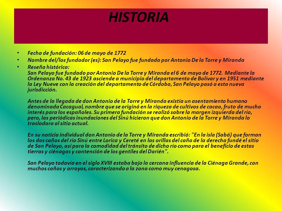 HISTORIA Fecha de fundación: 06 de mayo de 1772