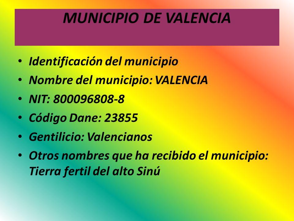 MUNICIPIO DE VALENCIA Identificación del municipio