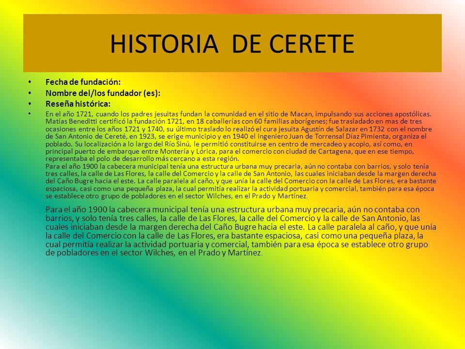 HISTORIA DE CERETE Fecha de fundación: Nombre del/los fundador (es):