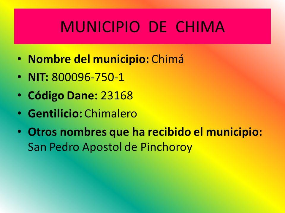 MUNICIPIO DE CHIMA Nombre del municipio: Chimá NIT: 800096-750-1