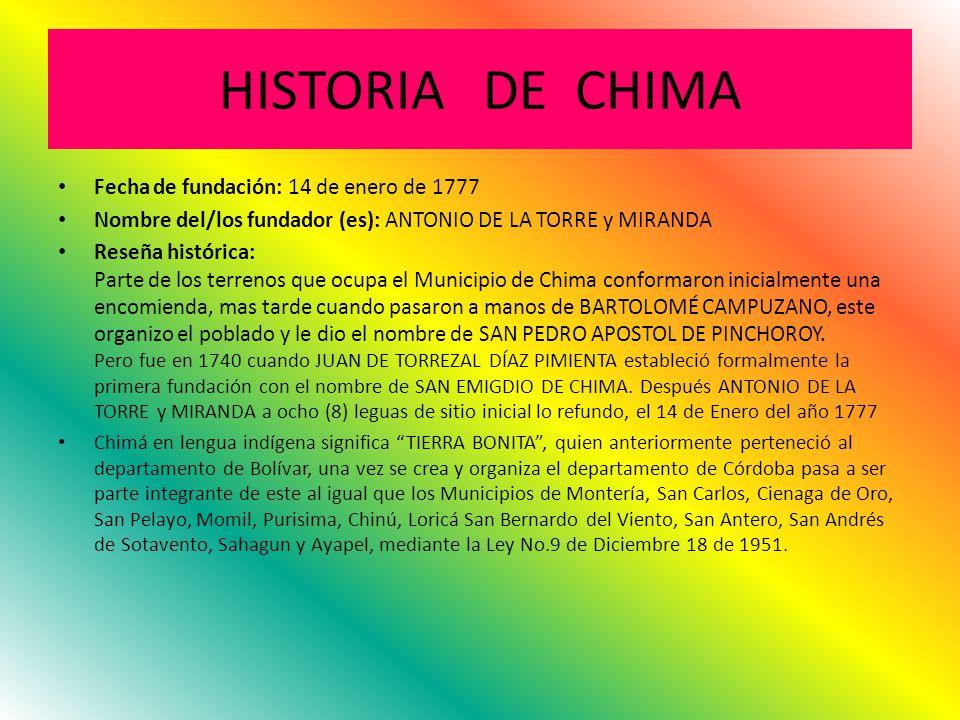 HISTORIA DE CHIMA Fecha de fundación: 14 de enero de 1777