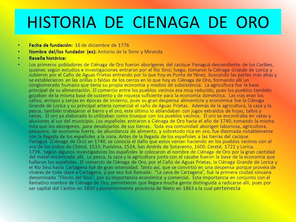 HISTORIA DE CIENAGA DE ORO