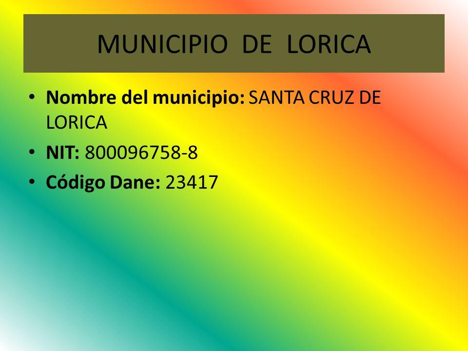 MUNICIPIO DE LORICA Nombre del municipio: SANTA CRUZ DE LORICA