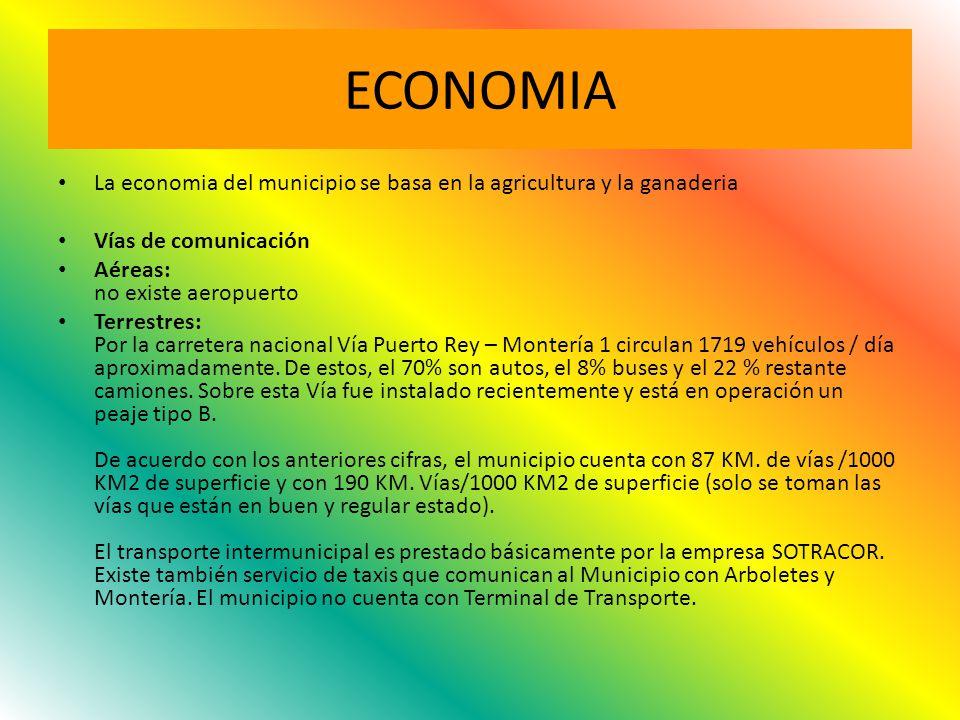 ECONOMIA La economia del municipio se basa en la agricultura y la ganaderia. Vías de comunicación