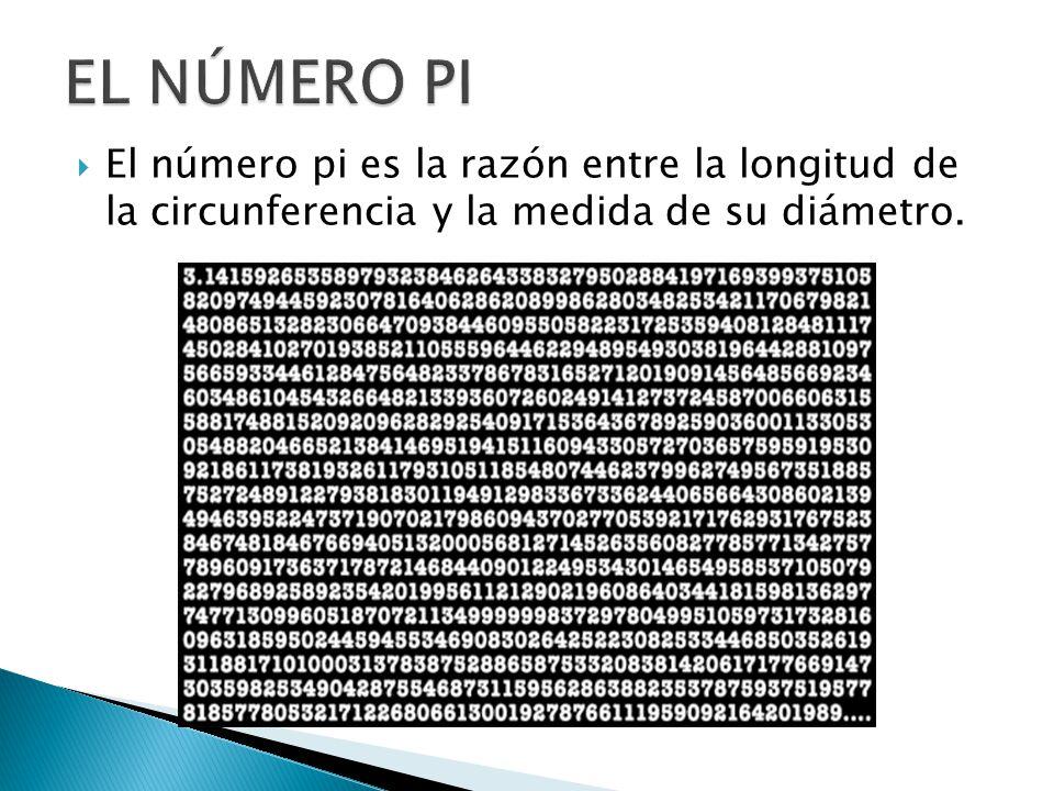 EL NÚMERO PI El número pi es la razón entre la longitud de la circunferencia y la medida de su diámetro.