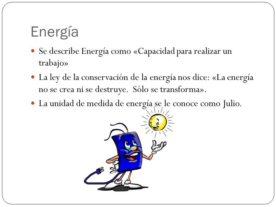 Energía Se describe Energía como «Capacidad para realizar un trabajo»