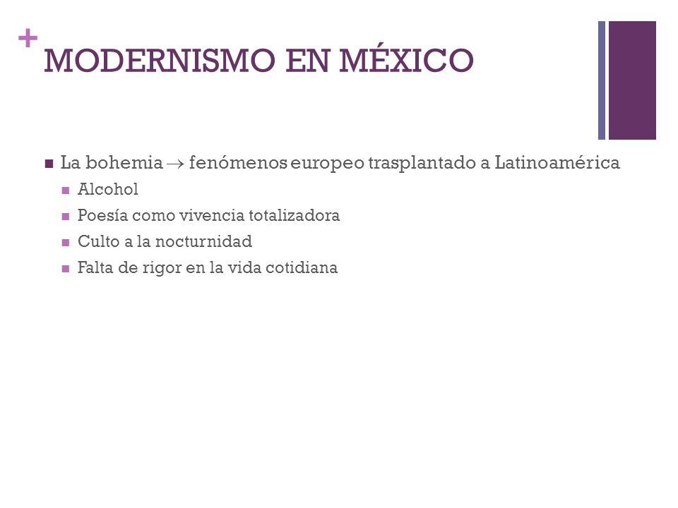 MODERNISMO EN MÉXICO La bohemia  fenómenos europeo trasplantado a Latinoamérica. Alcohol. Poesía como vivencia totalizadora.