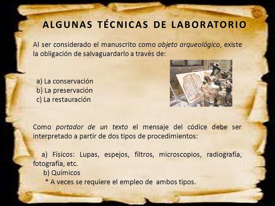ALGUNAS TÉCNICAS DE LABORATORIO