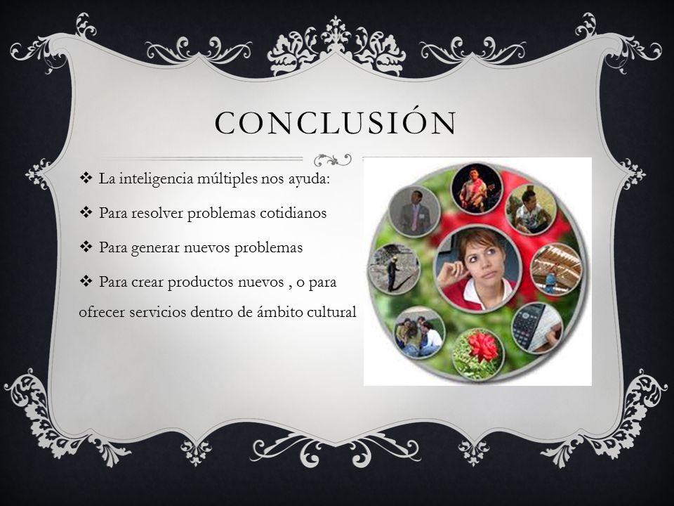 conclusión La inteligencia múltiples nos ayuda: