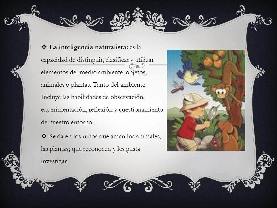 La inteligencia naturalista: es la capacidad de distinguir, clasificar y utilizar elementos del medio ambiente, objetos, animales o plantas. Tanto del ambiente. Incluye las habilidades de observación, experimentación, reflexión y cuestionamiento de nuestro entorno.