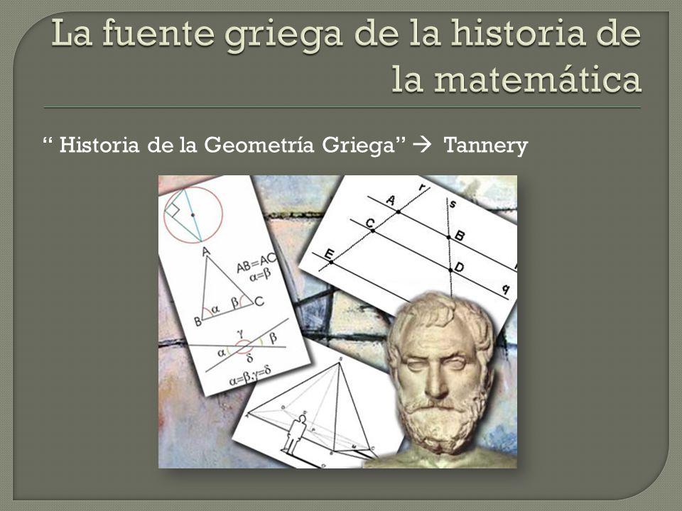 La fuente griega de la historia de la matemática