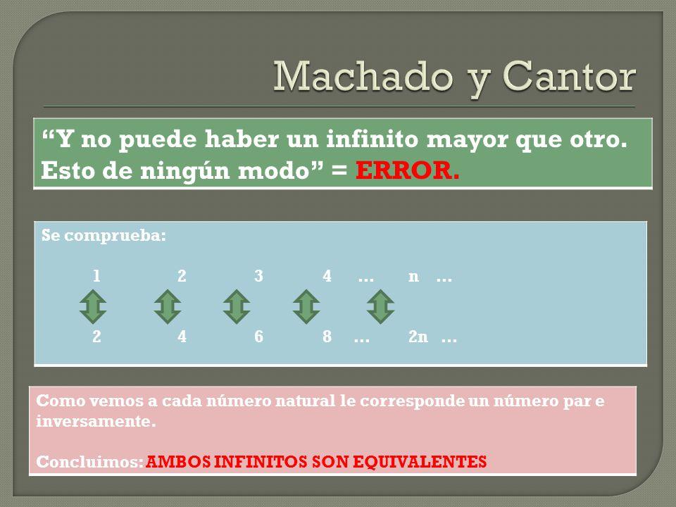 Machado y Cantor Y no puede haber un infinito mayor que otro. Esto de ningún modo = ERROR. Se comprueba: