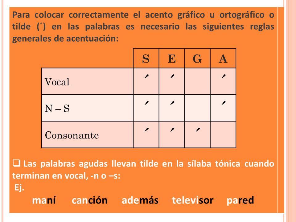 Para colocar correctamente el acento gráfico u ortográfico o tilde (´) en las palabras es necesario las siguientes reglas generales de acentuación: