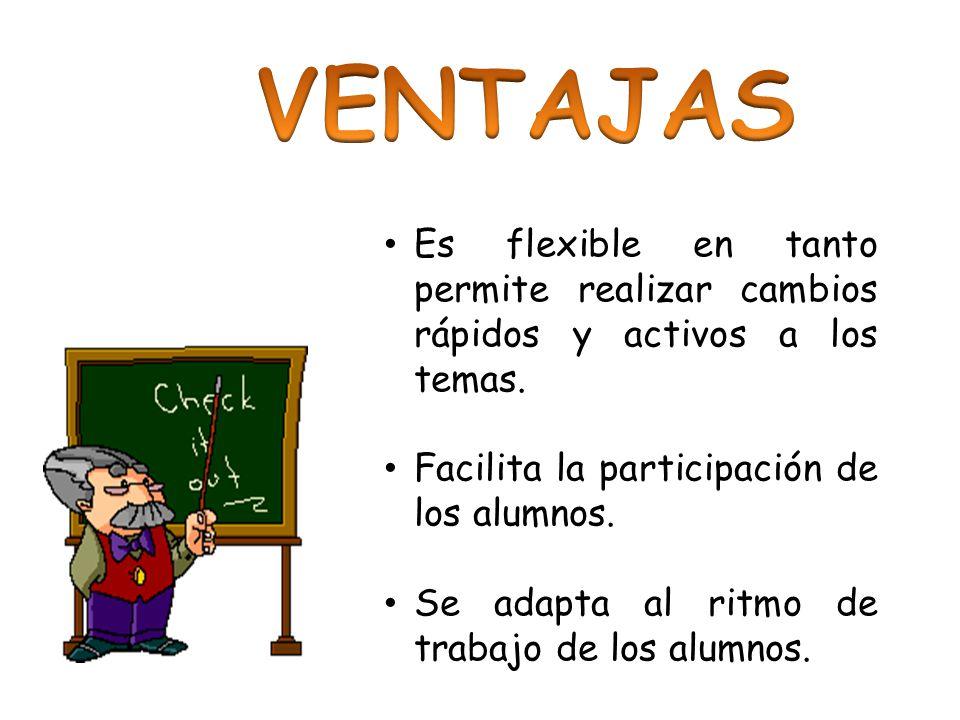 VENTAJAS Es flexible en tanto permite realizar cambios rápidos y activos a los temas. Facilita la participación de los alumnos.