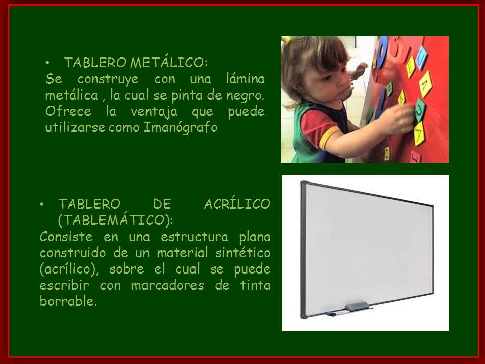 TABLERO METÁLICO: Se construye con una lámina metálica , la cual se pinta de negro. Ofrece la ventaja que puede utilizarse como Imanógrafo.