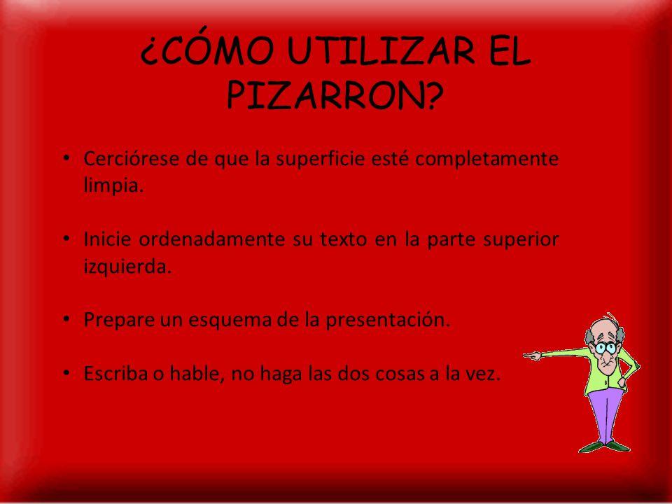 ¿CÓMO UTILIZAR EL PIZARRON