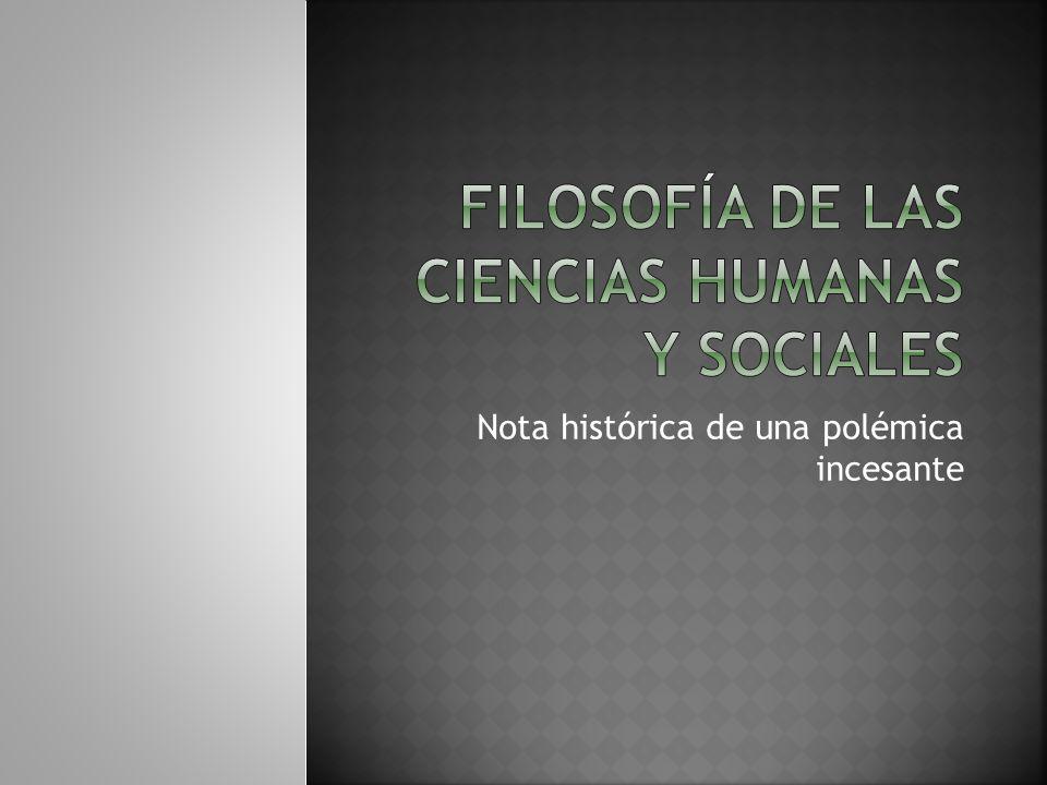 Filosofía de las ciencias humanas y sociales