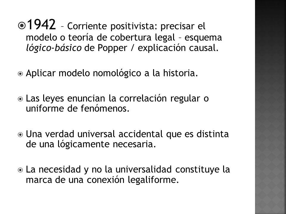 1942 – Corriente positivista: precisar el modelo o teoría de cobertura legal – esquema lógico-básico de Popper / explicación causal.