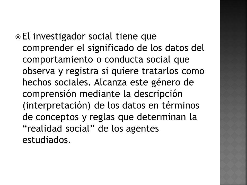 El investigador social tiene que comprender el significado de los datos del comportamiento o conducta social que observa y registra si quiere tratarlos como hechos sociales.