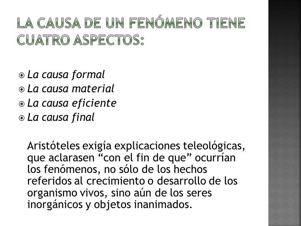 La causa de un fenómeno tiene cuatro aspectos: