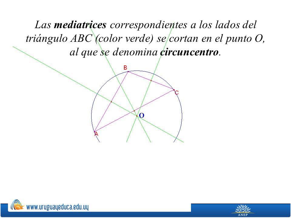 Las mediatrices correspondientes a los lados del triángulo ABC (color verde) se cortan en el punto O, al que se denomina circuncentro.
