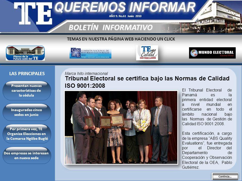 AÑO 9. No.61 Junio 2010 BOLETÍN INFORMATIVO. TEMAS EN NUESTRA PÁGINA WEB HACIENDO UN CLICK. LAS PRINCIPALES.