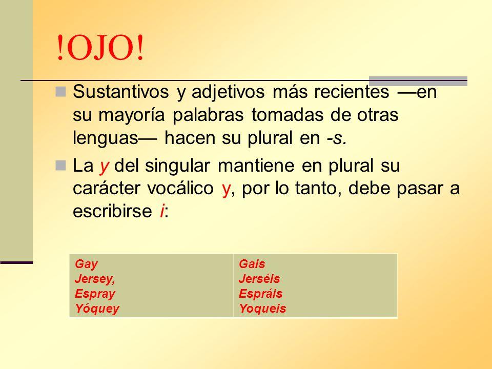 !OJO! Sustantivos y adjetivos más recientes —en su mayoría palabras tomadas de otras lenguas— hacen su plural en -s.