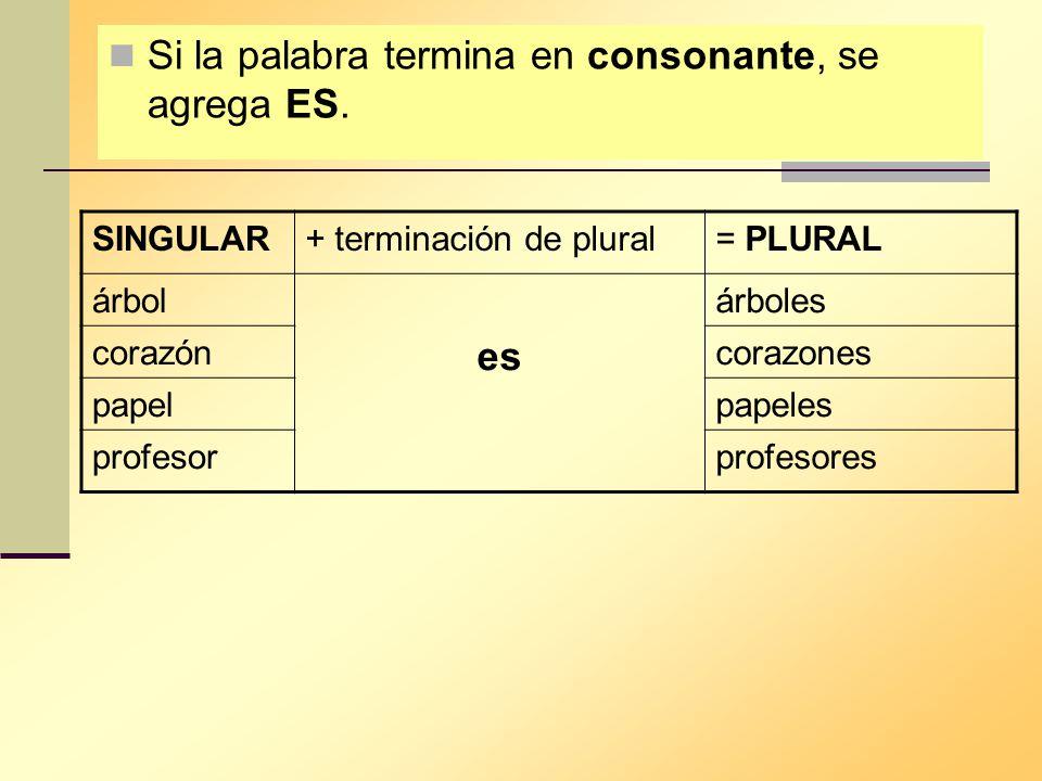 Si la palabra termina en consonante, se agrega ES.