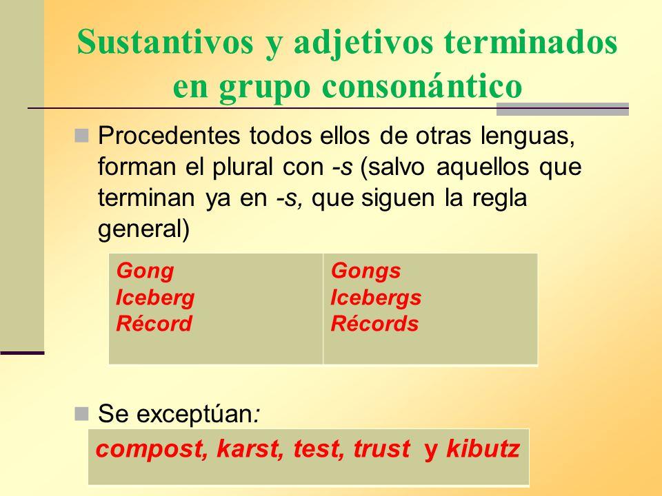 Sustantivos y adjetivos terminados en grupo consonántico