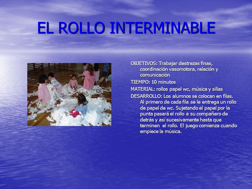 EL ROLLO INTERMINABLE OBJETIVOS: Trabajar destrezas finas, coordinación vasomotora, relación y comunicación.