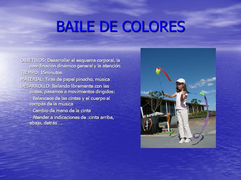 BAILE DE COLORES OBJETIVOS: Desarrollar el esquema corporal, la coordinación dinámico general y la atención.