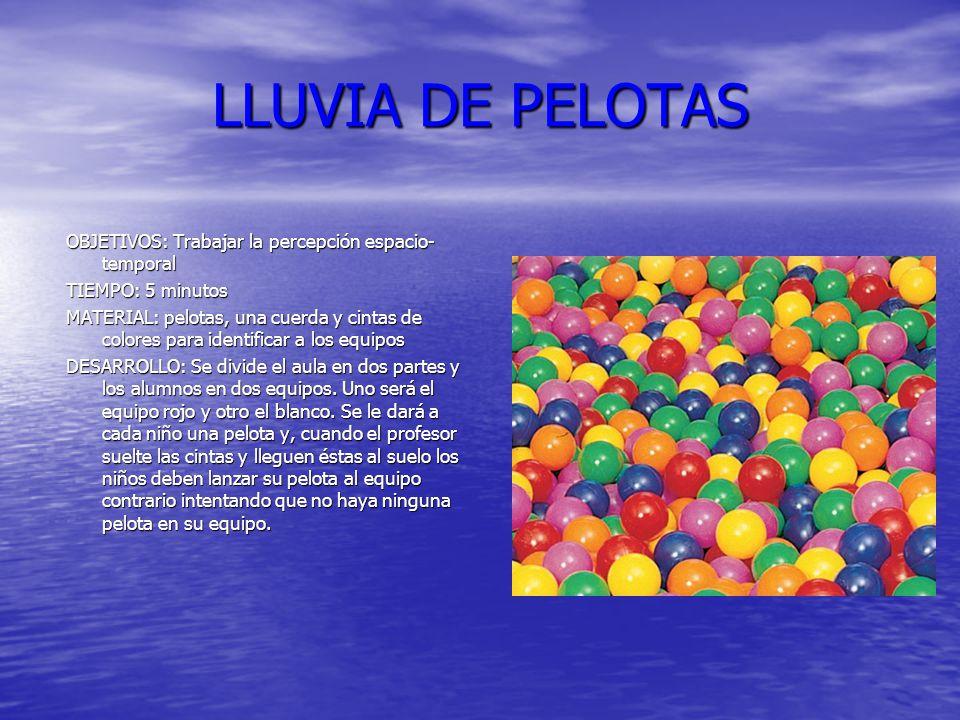 LLUVIA DE PELOTAS OBJETIVOS: Trabajar la percepción espacio-temporal