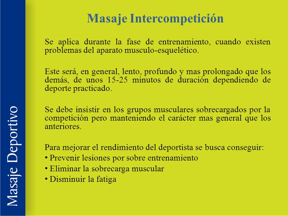 Masaje Intercompetición