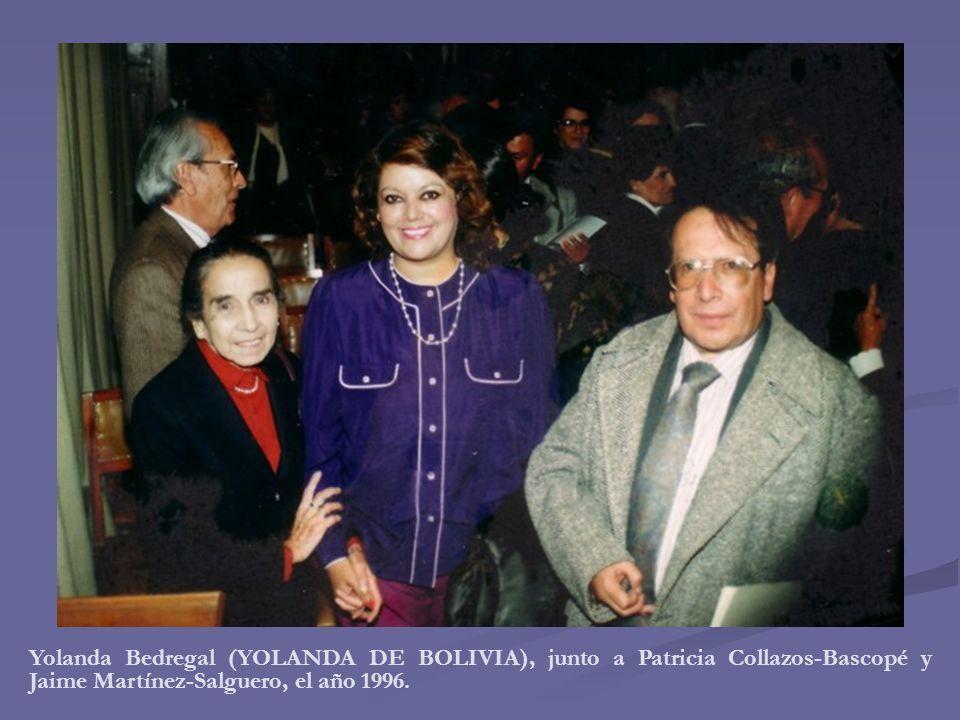 Yolanda Bedregal (YOLANDA DE BOLIVIA), junto a Patricia Collazos-Bascopé y Jaime Martínez-Salguero, el año 1996.