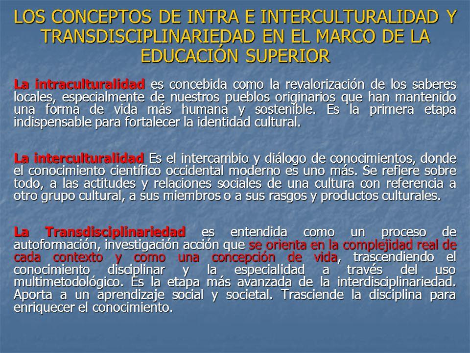 LOS CONCEPTOS DE INTRA E INTERCULTURALIDAD Y TRANSDISCIPLINARIEDAD EN EL MARCO DE LA EDUCACIÓN SUPERIOR