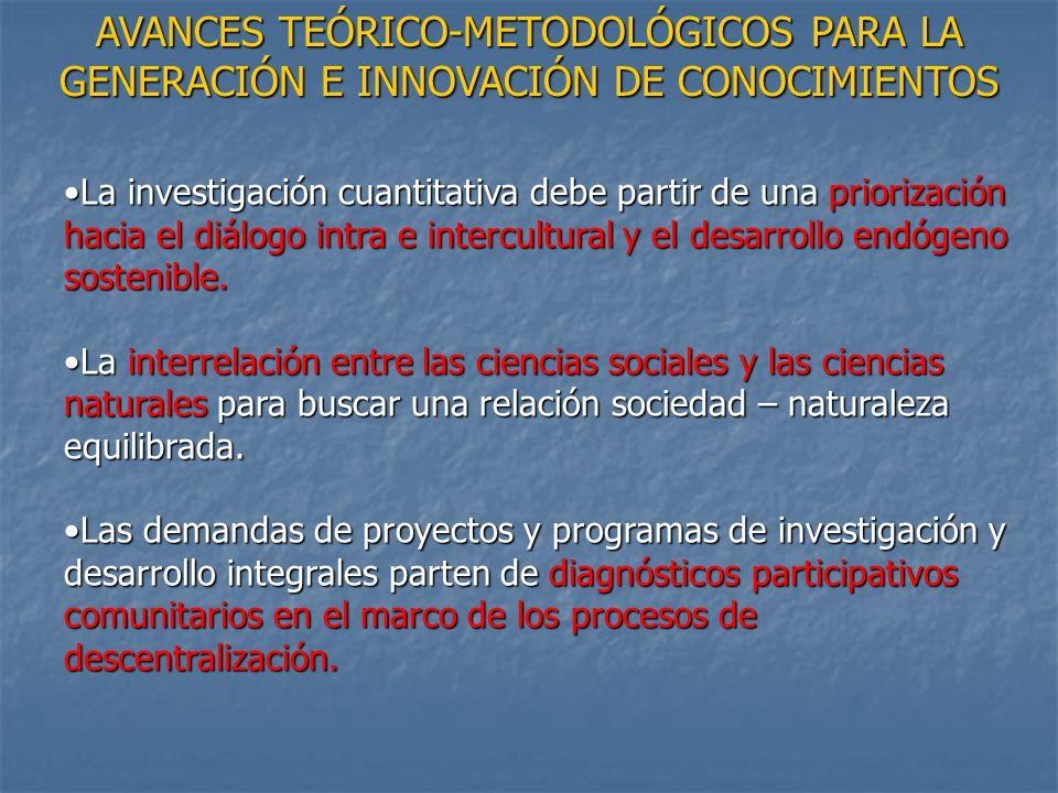 AVANCES TEÓRICO-METODOLÓGICOS PARA LA GENERACIÓN E INNOVACIÓN DE CONOCIMIENTOS