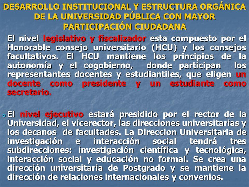 DESARROLLO INSTITUCIONAL Y ESTRUCTURA ORGÁNICA DE LA UNIVERSIDAD PÚBLICA CON MAYOR PARTICIPACIÓN CIUDADANA
