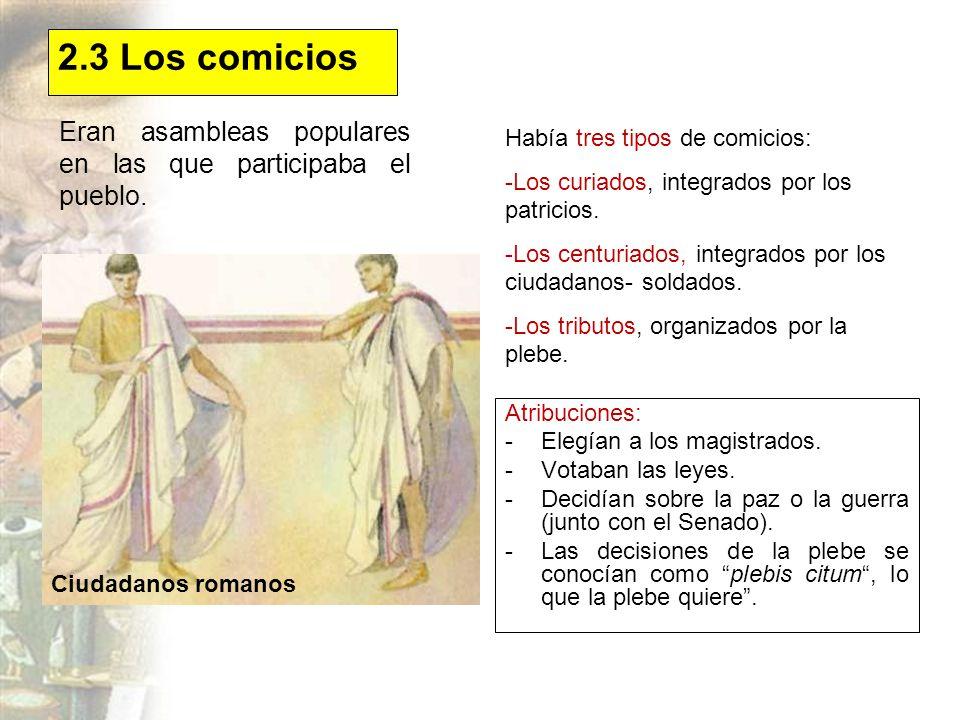 2.3 Los comicios Eran asambleas populares en las que participaba el pueblo. Había tres tipos de comicios: