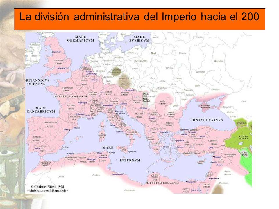 La división administrativa del Imperio hacia el 200