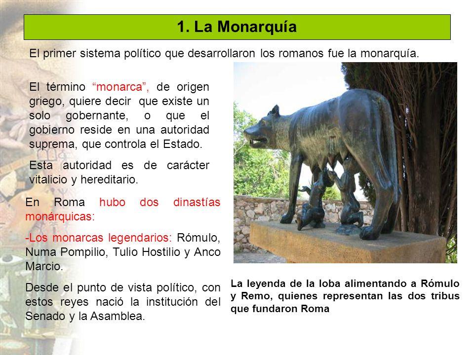 1. La Monarquía El primer sistema político que desarrollaron los romanos fue la monarquía.