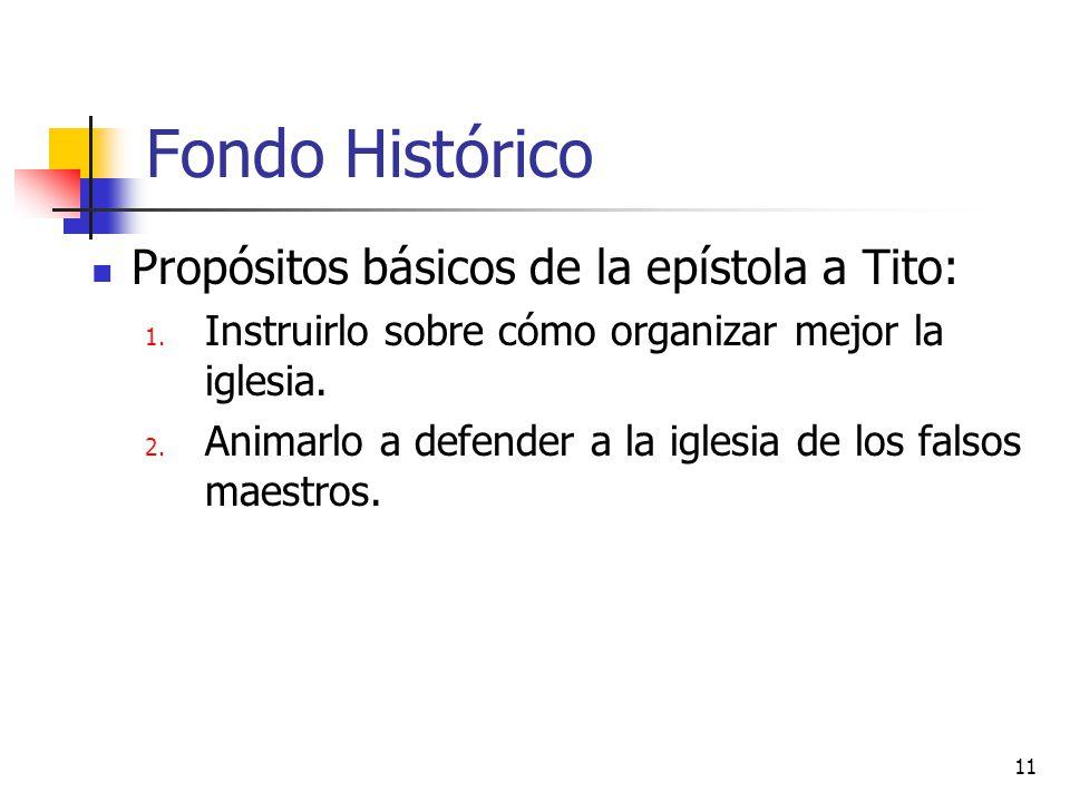 Fondo Histórico Propósitos básicos de la epístola a Tito: