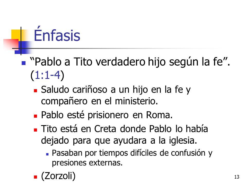 Énfasis Pablo a Tito verdadero hijo según la fe . (1:1-4)