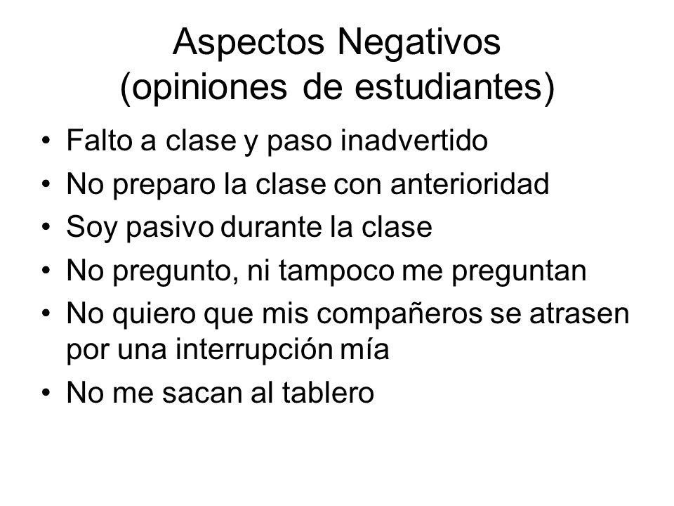 Aspectos Negativos (opiniones de estudiantes)